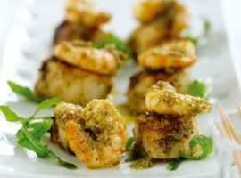 Griddled Pesto Scallops and Prawns