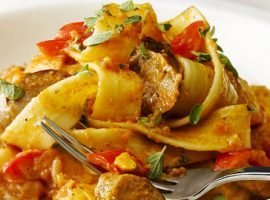 Chilli Pesto and Pork Sausage Pappardelle